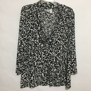 Chico's Black And White Wrap Style Blouse
